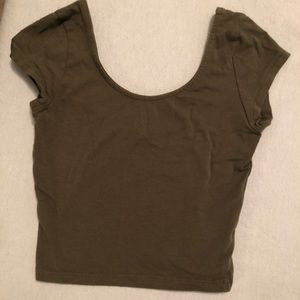 Tops - Army green Charlotte Russe crop top